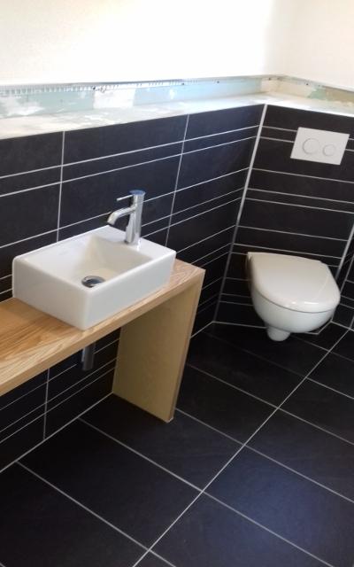 Wandhänge WC mit TECE Loop Drückerplatte und Handwaschbecken
