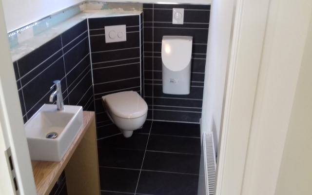 Gäste WC Bereich nach Feinmontage. Zu sehen Urinal mit Deckel, wandhänge WC mit TECE Loop Drückerplatte und Handwaschbecken.