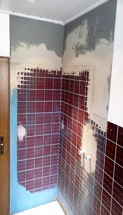 Demontage der Duschkabine und Wanne, Änderung der Unterputzarmatur zur Aufputz-Variante und Ausgleich der Wände, Duschwanne mit Antirutsch-Beschichtung aufgestellt.